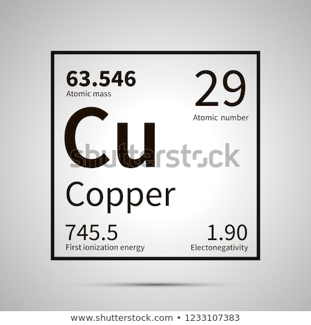 Copper chemical element with first ionization energy, atomic mass and electronegativity values ,simp Stock photo © evgeny89