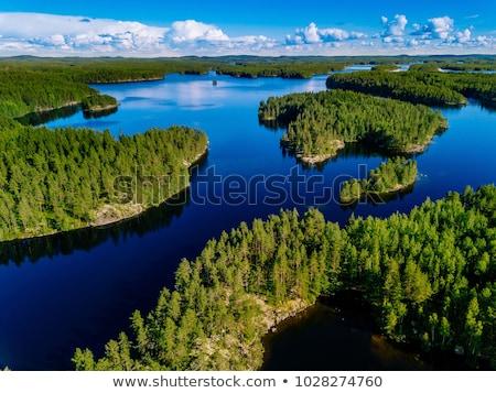 Lac Finlande faible forêt île eau Photo stock © MichaelVorobiev