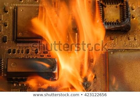 circuit · board · rook · brand · technologie · contact · Blauw - stockfoto © gewoldi