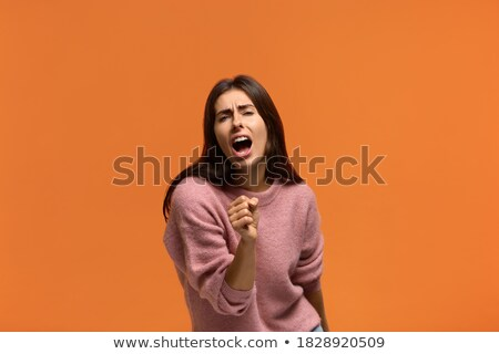 glimlachend · zakenvrouw · draadloze · microfoon · geïsoleerd · jonge - stockfoto © qingwa