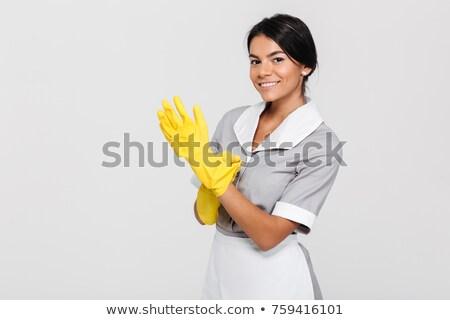 женщину · резиновые · перчатки · дома · работу · кухне - Сток-фото © photography33