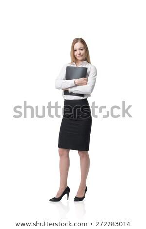 uśmiechnięta · kobieta · czarny · folderze · odizolowany · biały - zdjęcia stock © jagston