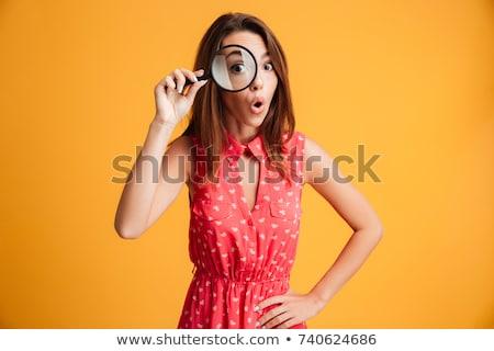 sorridere · ragazza · guardando · mano · lente · di · ingrandimento · foresta - foto d'archivio © photography33