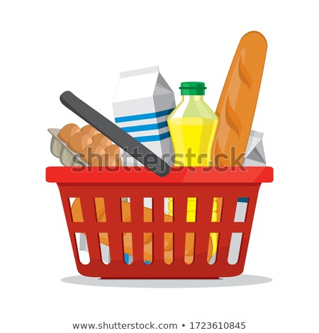 Stock photo: fresh food basket of groceries