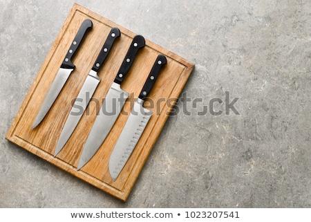 conjunto · cozinha · facas · isolado · aço · branco - foto stock © pazo