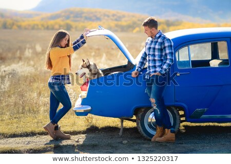 a walk in a red convertible car on the coast stock photo © photography33