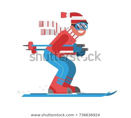 Foto stock: Homem · esqui · país · esportes · neve · beleza