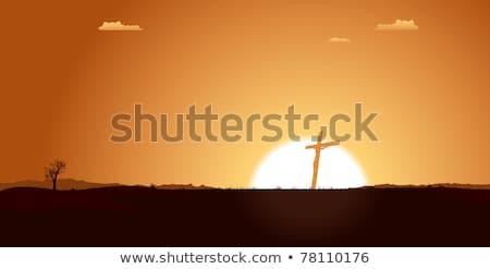 Stock photo: Christian Cross Inside Desert Landscape