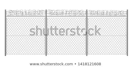drót · felső · fal · kék · ég · keret · biztonság - stock fotó © redpixel