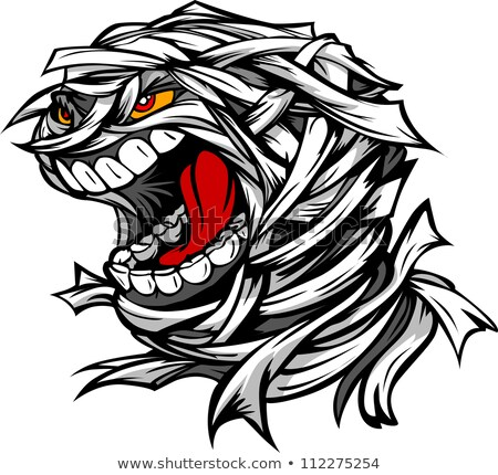 Screaming Scary Mummy Halloween Monster Head Cartoon Vector Illu Foto stock © ChromaCo