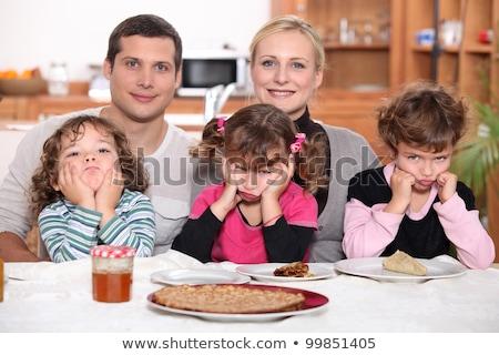 Durcás gyerekek palacsinták mosoly férfi boldog Stock fotó © photography33