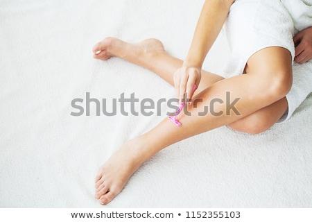gyönyörű · nő · láb · haj · krém · ülő · padló - stock fotó © stryjek