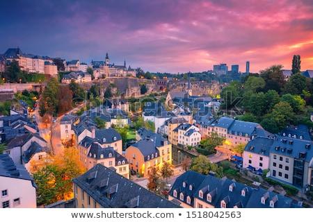 Luxemburg kaart vlag Blauw land tekening Stockfoto © tshooter