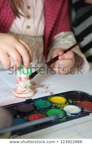 Gyermek festmény tapasz szobrocska haj festék Stock fotó © photography33