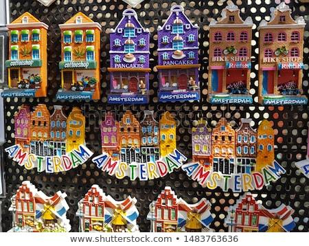 Amsterdam markt gebouwen winkel baksteen Stockfoto © tannjuska