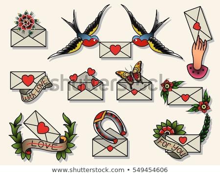 Swallows mail vintage postcard Stock photo © kostins