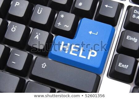 Komputera kluczowych pomoc szary przycisk Zdjęcia stock © iqoncept