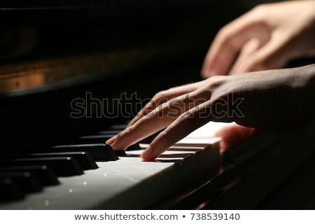 közelkép · feketefehér · billentyűzet · zongora · jókedv · fekete - stock fotó © badmanproduction
