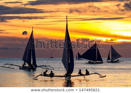 vitorlázik · naplemente · megfigyelés · csónak · fedélzet · nap - stock fotó © travnikovstudio
