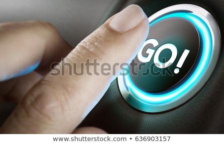 mão · empurrando · poder · botão · teclado - foto stock © tungphoto