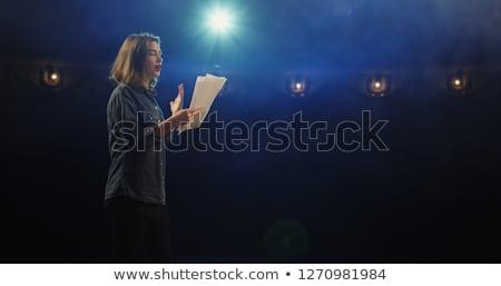 Fiatal színésznő színpad kék ruha föld Stock fotó © maros_b