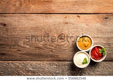 Stockfoto: Salsa · saus · houten · tafel · voedsel · restaurant · Rood