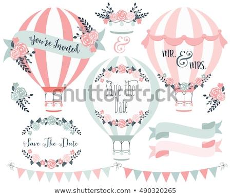 Hőlégballon esküvői meghívó vektor szett terv elemek Stock fotó © beaubelle