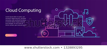 Stok fotoğraf: Web Hosting On Blue In Flat Design Style