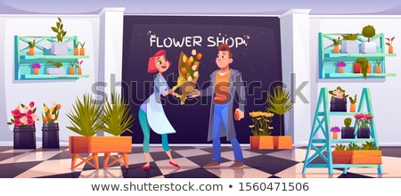 Potted flowers on shelves in garden shop Stock photo © CandyboxPhoto