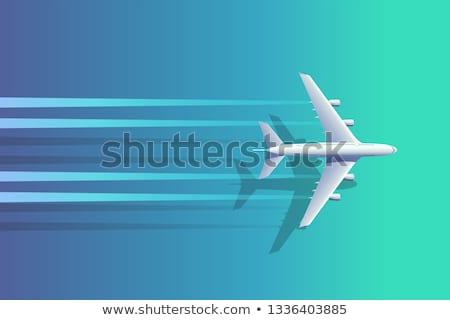 Foto stock: Vista · Jet · avión · ala · fondo · azul