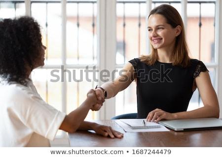 üzletasszony · kézfogás · izolált · teljes · alakos · stúdiófelvétel · ki - stock fotó © dgilder