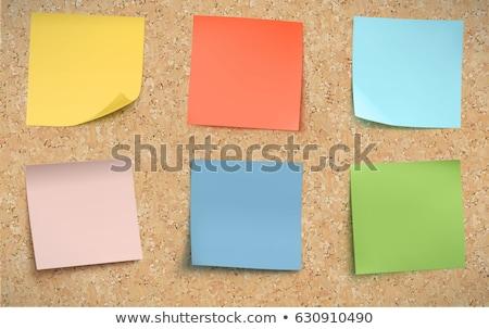 Notas placa de cortiça amarelo escritório madeira fundo Foto stock © meshaq2000
