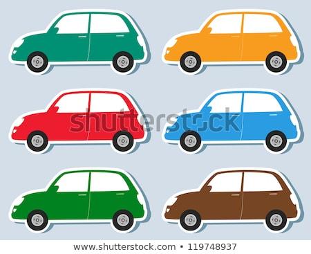 rojo · coche · aislado · blanco · pequeño · sedán - foto stock © voysla