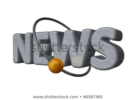 dünya · haber · altın · 3D · sözler · karanlık - stok fotoğraf © tashatuvango
