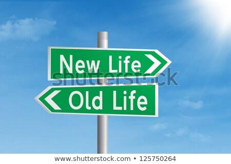 Yeni hayat yeşil karayolu tabelasını yol arka plan Stok fotoğraf © tashatuvango