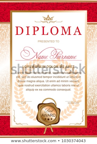 Vertical gold and red voucher with ribbon and swirl pattern Stock photo © liliwhite