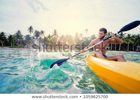 Foto stock: Amarelo · caiaque · costa · lago · esportes · viajar