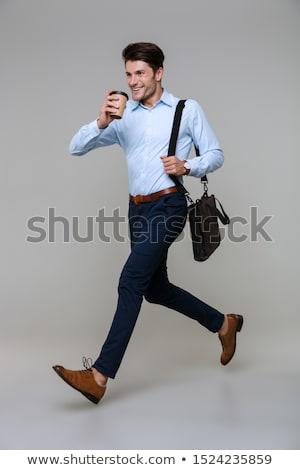 Portrait heureux affaires portable sac gris Photo stock © deandrobot