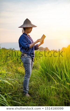 Woman Looking At Scenic View Of Mountains On Digital Tablet Stock photo © AndreyPopov