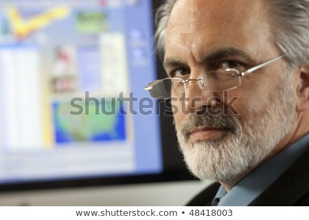 Close up Serious Senior Man Wearing Eyeglasses Stock photo © ozgur