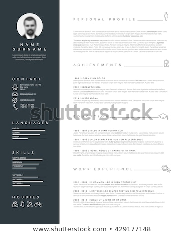 cv resume template with nice typography vector illustration