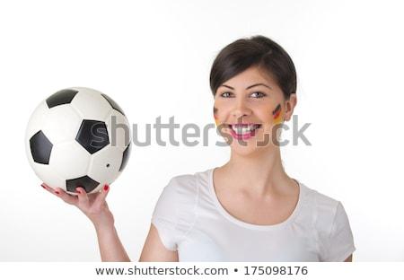 Csinos szőke nő futball ventillátor tart labda Stock fotó © wavebreak_media