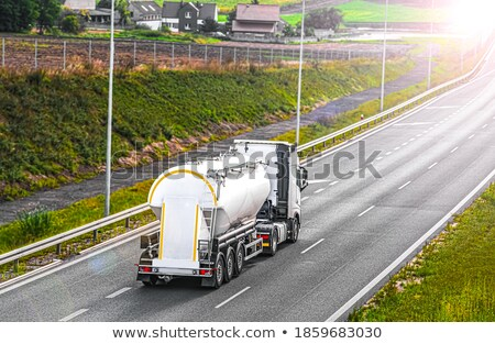 Photo stock: Fuel Tanker Truck And Drive Safely Sign