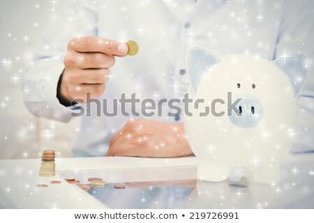 üzletember · persely · tart · izolált · fehér · üzlet - stock fotó © wavebreak_media
