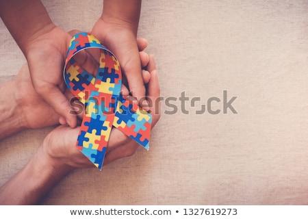 Autizmus puzzle kéz rajz jelző átlátszó Stock fotó © ivelin