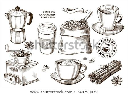 набор вектора кофе чай сумку черный Сток-фото © igorij
