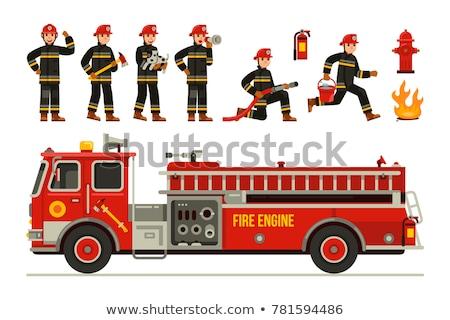strażak · biały · kask · stoją · kurtka - zdjęcia stock © maxpainter