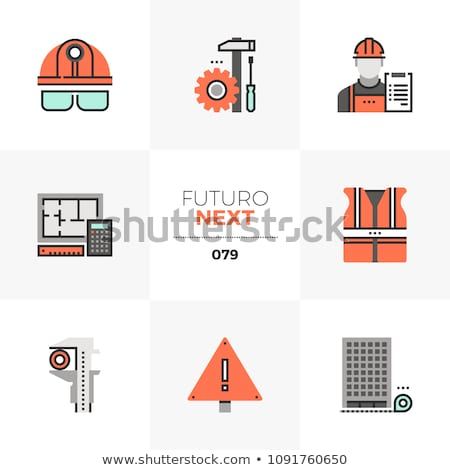 Builder in hard hat and glasses - foreman icon Stock photo © Winner