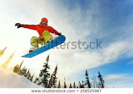 молодым человеком сноуборд азиатских человека вектора дизайна Сток-фото © RAStudio