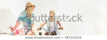 Paar paardrijden pier mooie vrouw Stockfoto © deandrobot
